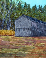 forsythia and tobacco barn 8x10""