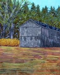 "forsythia and tobacco barn 8x10"""