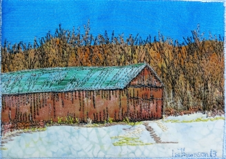 winter tobacco barn 5x7""
