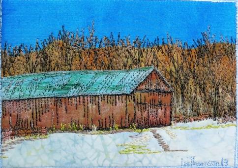 """winter tobacco barn 5x7"""""""