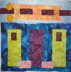 abstract green blocks fabric