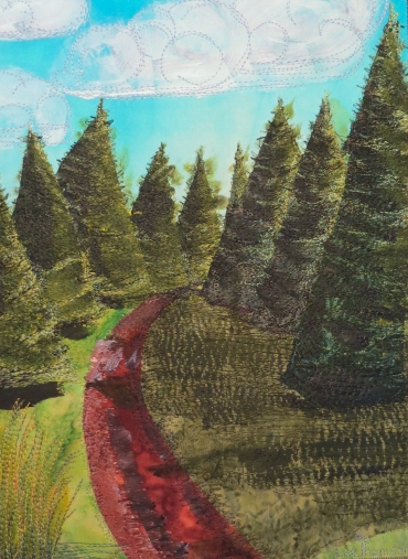 path in pines mixed media